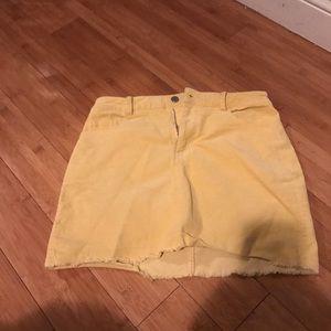 Yellow Corduroy Mini Skirt NWY